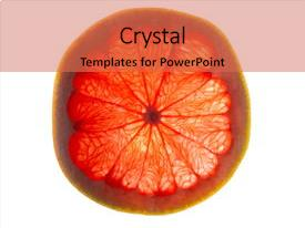 Audience pleasing PPT theme consisting of fruit slices - slice of grapefruit backdrop and a coral colored foreground.