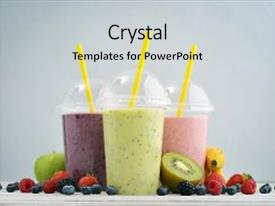 Colorful PPT layouts enhanced with fruit smoothies in plastic cups backdrop and a  colored foreground.