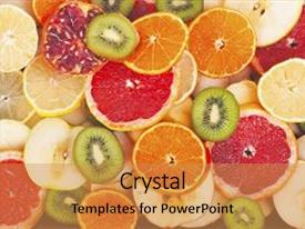 Cool new PPT theme with fruit textures kiwi orange grapefruit lemon apple pear pomegranate mandarin fruits as background cover wallpaper colorful fresh fruits in rainbow colors beautiful delicious fruits wallpaper sweet backdrop and a gold colored foreground.