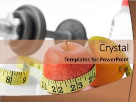 Audience pleasing PPT theme consisting of fruits and exercise for healthy backdrop and a coral colored foreground.