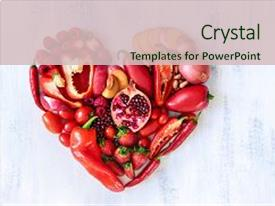 Beautiful theme featuring fruits arranged in a heart backdrop and a soft green colored foreground.