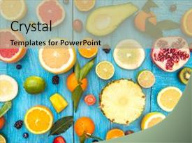 Colorful PPT theme enhanced with fruits on white wooden background backdrop and a mint green colored foreground.