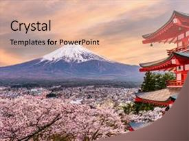 5000 japan powerpoint templates w japan themed backgrounds amazing slide deck having fujiyoshida at chureito pagoda backdrop and a lemonade colored toneelgroepblik Image collections