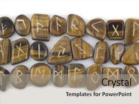 PPT layouts having full set of rune stones carved in tigers eye on white background background and a mint green colored foreground