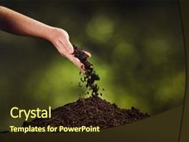Soil powerpoint templates ppt themes with soil backgrounds presentation theme with garden hand pouring black background and a tawny brown toneelgroepblik Images