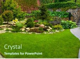 Amazing PPT theme having garden-stone-path-with-grass backdrop and a tawny brown colored foreground