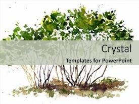 PPT theme consisting of garden trees hand drawn art background and a light gray colored foreground.