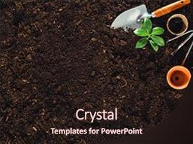 Fertilizer powerpoint templates ppt themes with fertilizer colorful ppt layouts enhanced with gardening tools on fertile soil backdrop and a wine colored foreground toneelgroepblik