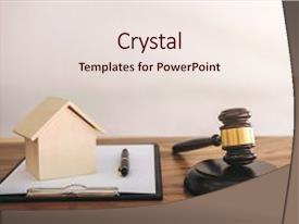 PPT theme enhanced with gavel on sounding block at courtroom for decide home insurance law and justice concept settle a house dealing lawsuit background and a sky blue colored foreground.