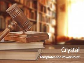 Presentation design featuring law - gavel with sound block background and a tawny brown colored foreground