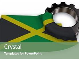 1000 jamaica flag powerpoint templates w jamaica flag themed presentation having gear wheel and flag of jamaica 3d rendering background and a seafoam green toneelgroepblik Gallery