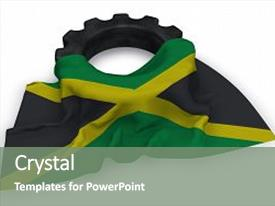 1000 jamaica flag powerpoint templates w jamaica flag themed ppt theme with gear wheel and flag of jamaica 3d rendering background and a gray toneelgroepblik Gallery
