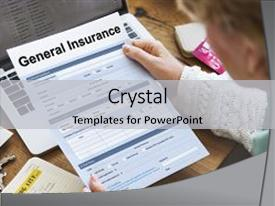PPT theme with general insurance rebate form information background and a light gray colored foreground.
