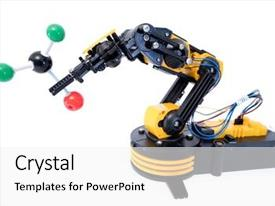 PPT theme enhanced with genetic engineering - plastic model of industrial robotics background and a white colored foreground