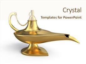 Beautiful PPT theme featuring genie lamp isolated over white backdrop and a cream colored foreground.