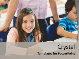 Presentation design featuring girl doing homework in classroom background and a light gray colored foreground.