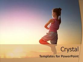 Audience pleasing presentation design consisting of wellness - girl in the park yoga backdrop and a coral colored foreground