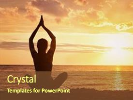 Slides consisting of girl is practicing yoga on the beach view from the back sunset silhouettes background and a tawny brown colored foreground