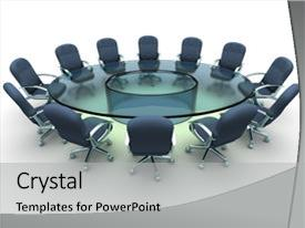 PPT theme with glass conference table with business background and a light gray colored foreground.