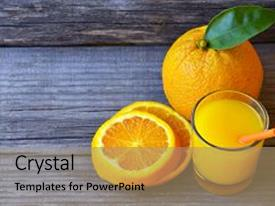 PPT theme with glass of fresh orange juice ripe orange fruit and slices on rustic wooden table freshly squeezed orange juice with drinking straw orange fruit and orange slices background and a coral colored foreground.