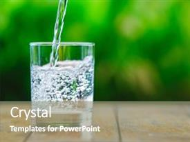 Cool new presentation theme with glass of water on green background the wooden table pure water with gas sparkling water backdrop and a gray colored foreground.