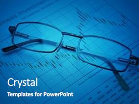 Slides enhanced with glasses on stock market graph financial and business concept background and a teal colored foreground