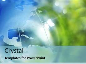 Colorful PPT theme enhanced with globe - blue and green earth background backdrop and a light blue colored foreground