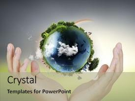 PPT layouts enhanced with globe earth in human hand background and a mint green colored foreground.