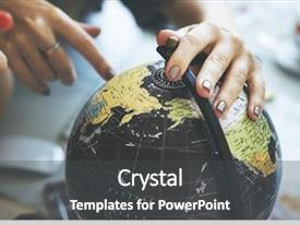 Colorful slide deck enhanced with globe world map travel explore backdrop and a dark gray colored foreground