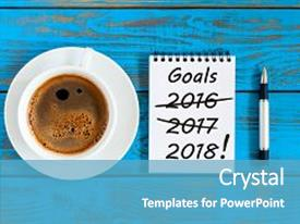 Presentation with goals 2018 targets goal dreams background and a teal colored foreground.