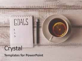Colorful presentation design enhanced with goals concept notebook with goals backdrop and a light gray colored foreground.