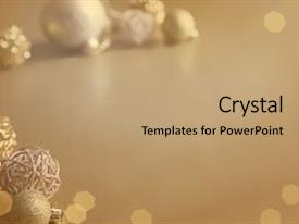Audience pleasing presentation theme consisting of gold festive christmas background christmas ball golden background christmas decoration backdrop and a coral colored foreground