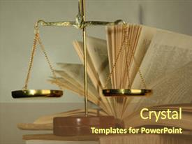 Slide deck with gold scales of justice and books on grey background background and a tawny brown colored foreground