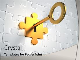 Presentation enhanced with golden key and puzzle pieces  background and a light gray colored foreground.