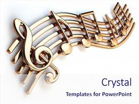 Presentation theme enhanced with golden music notes and treble background and a sky blue colored foreground.