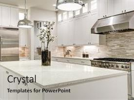 5000 kitchen powerpoint templates w kitchen themed backgrounds amazing ppt theme having gourmet kitchen features white shaker cabinets with marble countertops stone subway tile toneelgroepblik Choice Image