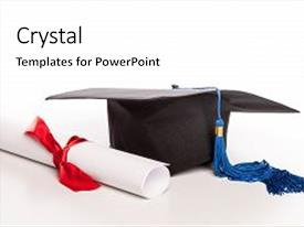 Amazing PPT layouts having graduation cap and diploma backdrop and a white colored foreground