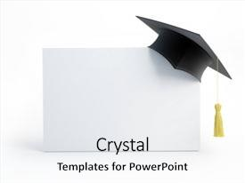 Presentation theme having graduation cap blank isolated background and a white colored foreground.