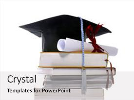 PPT theme enhanced with graduation cap books and scroll background and a light gray colored foreground