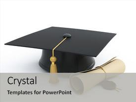 Cool new presentation with graduation cap diploma isolated backdrop and a light gray colored foreground.