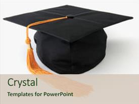 Amazing presentation theme having graduation cap isolated object backdrop and a soft green colored foreground.