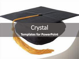 Amazing presentation design having graduation cap isolated on white backdrop and a dark gray colored foreground.