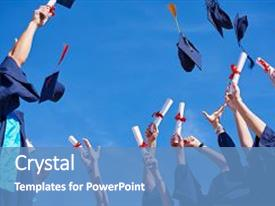 PPT layouts having graduation - high school students graduates tossing background and a teal colored foreground.