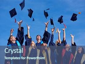Presentation design featuring graduation - high school students graduates tossing background and a ocean colored foreground.