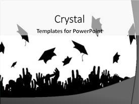 Presentation theme with graduation - illustration of a crowd background and a white colored foreground.