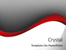 Presentation design having gray and red dynamic waves background and a white colored foreground.