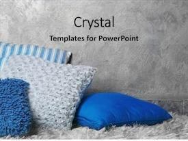 PPT layouts having gray blue - decorative pillows on grey background background and a light gray colored foreground