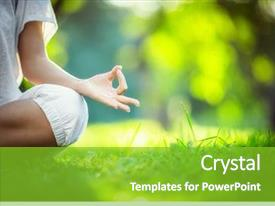 Amazing PPT layouts having green - yoga in the park backdrop and a shamrock green colored foreground
