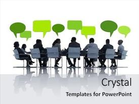 Slide deck having green business meeting background and a light gray colored foreground