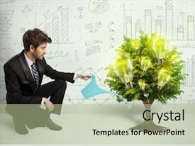 Presentation design enhanced with green eco - business man pouring water background and a mint green colored foreground